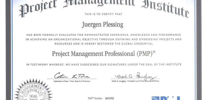 PMP CREDENTIAL - JUERGEN PLESSING